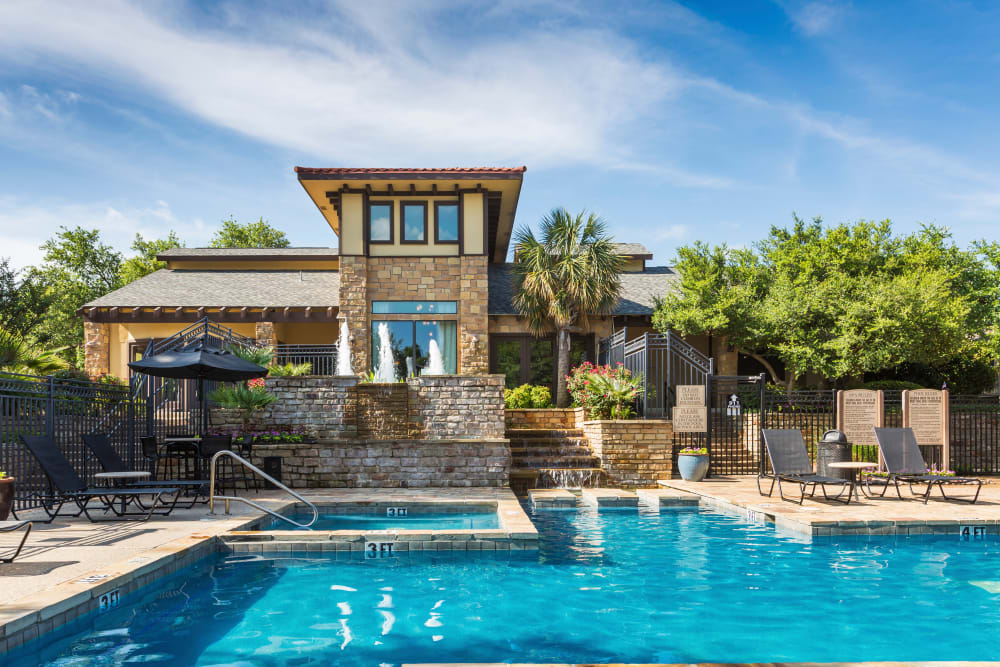 Sparkling swimming pool on a gorgeous day at Grayson Ridge in North Richland Hills, Texas