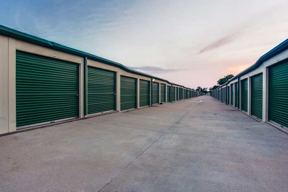 Outside Drive-Up Units at Advantage Storage - Saginaw in Fort Worth, Texas.
