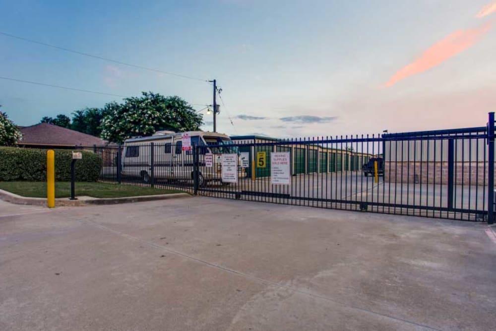 Gated entrance at Advantage Storage - Saginaw in Fort Worth, Texas