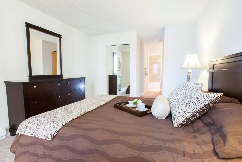 Model bedroom at Castlewood Apartments in Walnut Creek, California