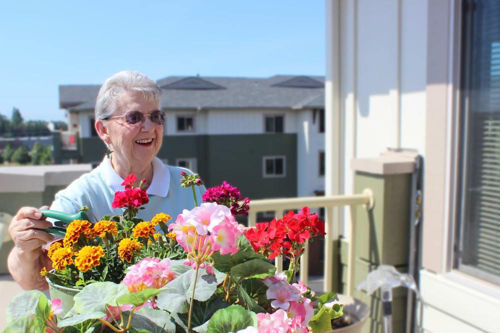 Senior enjoying sun on balcony