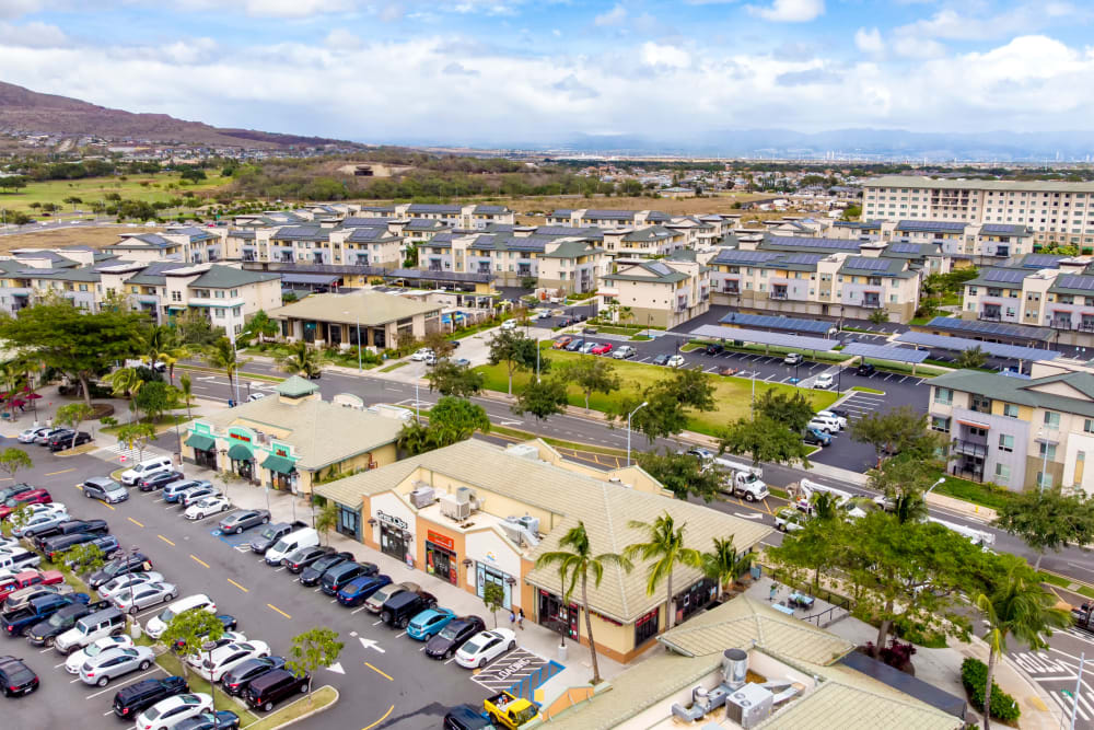 View of the apartment buildings from the sky at Kapolei Lofts