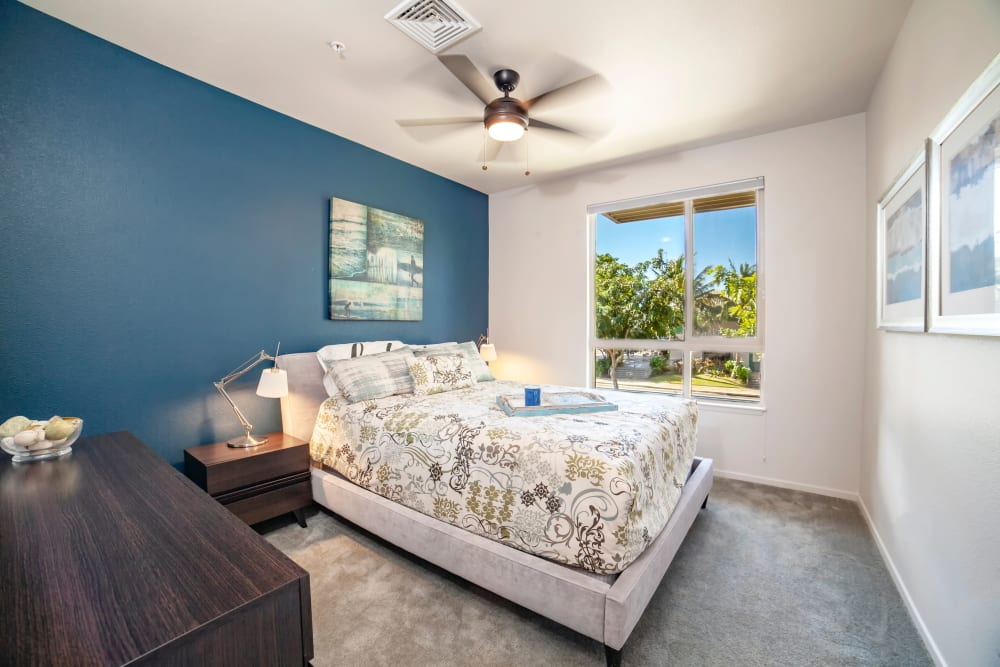 model bedroom at Kapolei Lofts