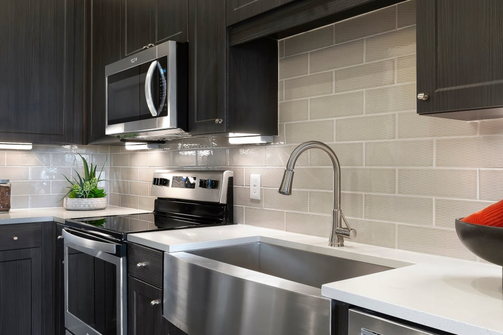 Large kitchen sink available at Alta Trinity Green in Dallas, Texas