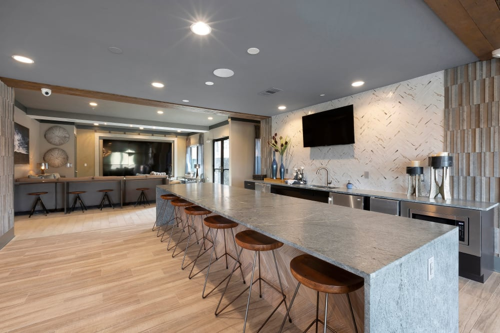 Enjoy the kitchen area in the clubhouse at Alta Trinity Green in Dallas, Texas