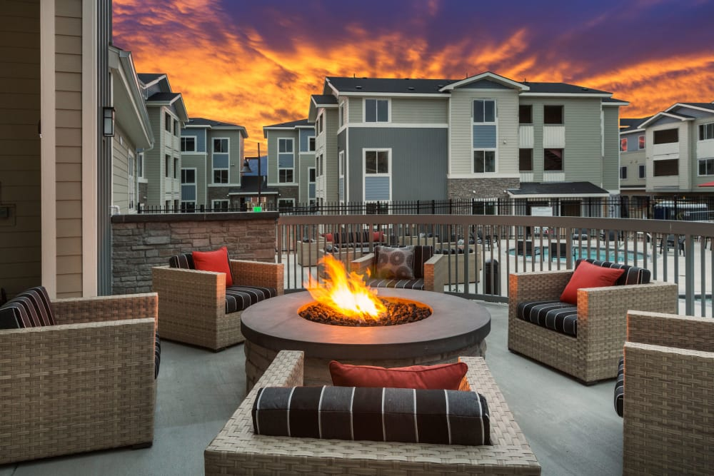 Outdoor fireplace at The Overlook at Interquest in Colorado Springs, Colorado