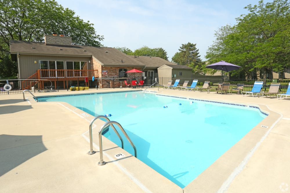 Swimming pool area at Country Ridge in Saginaw, Michigan