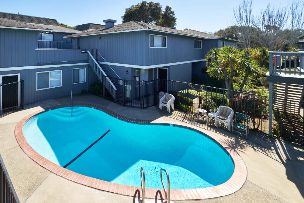 Aerial view of the swimming pool at Casanova Monterey in Monterey, California
