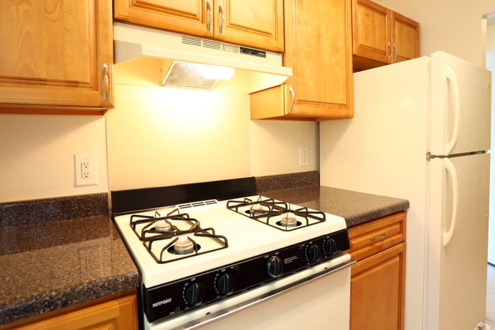 Kitchen with gas-stove at Laurel Hill Apartments in Lindenwold, New Jersey