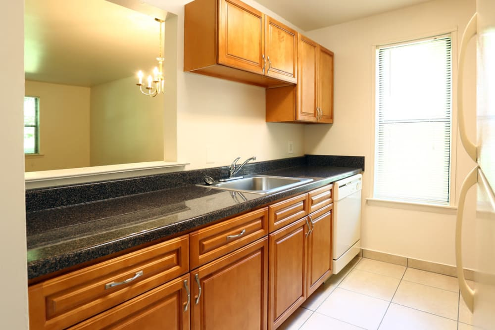 Large kitchen with a granite counter top at Laurel Hill Apartments in Lindenwold, New Jersey