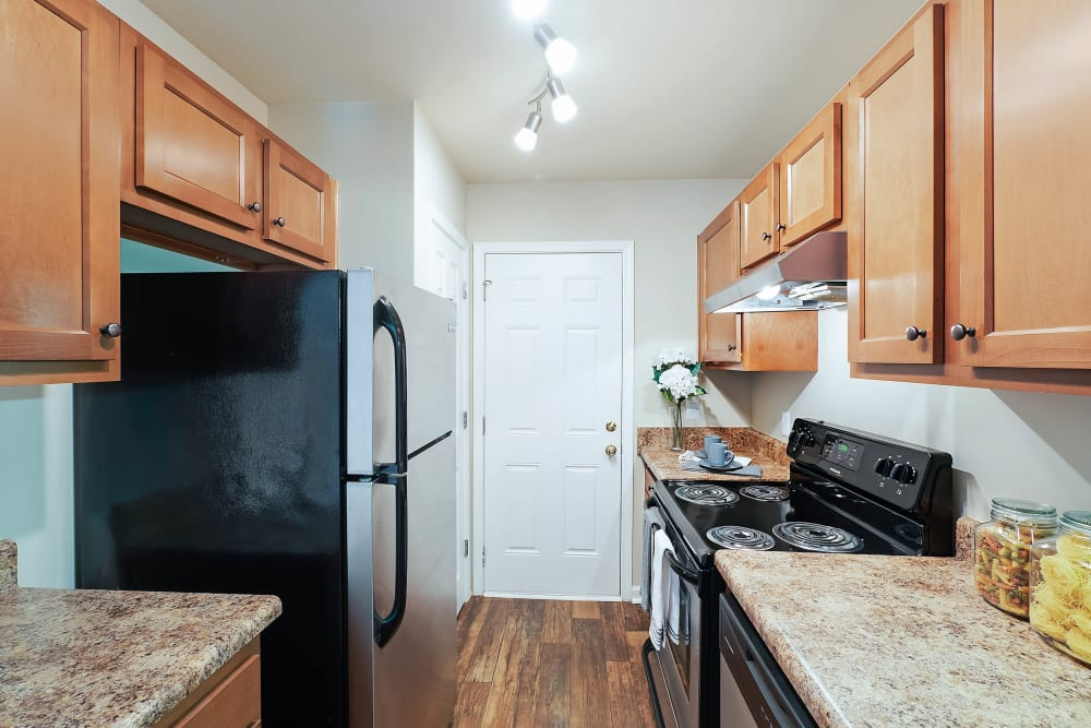 Kitchen with plenty of counter space at Redmond Chase Apartments in Rome, Georgia.