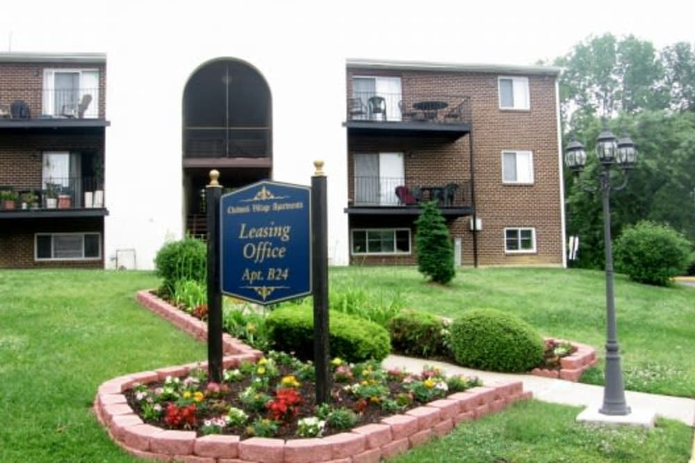 Landscaped exterior of leasing office at Chadwick Village Apartments in Lindenwold, New Jersey