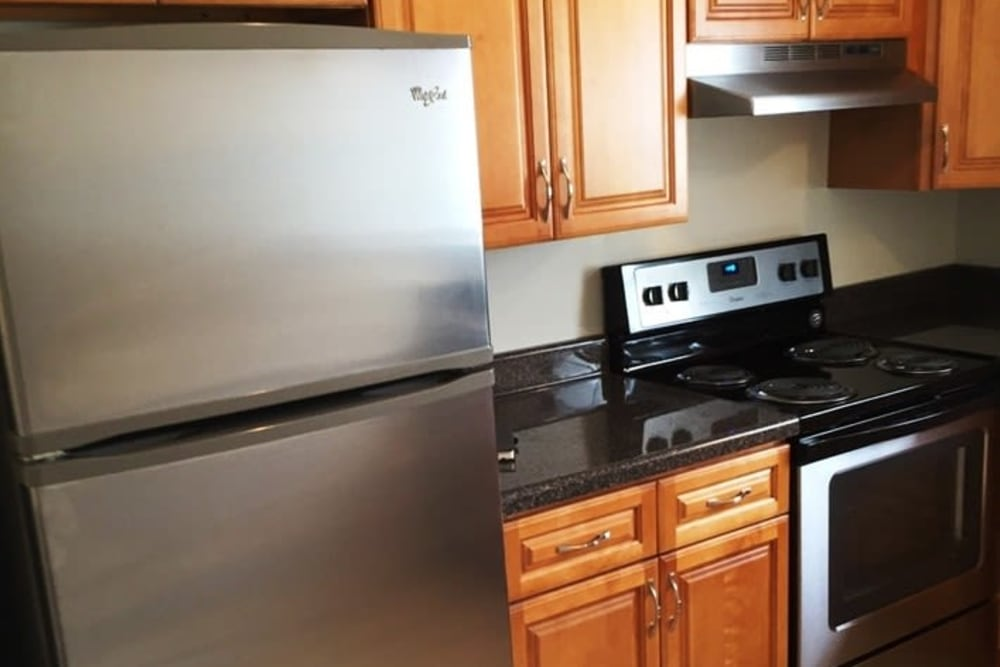 Kitchen with lots of counter top space at Orchard Hills Apartments in Whitehall, Pennsylvania