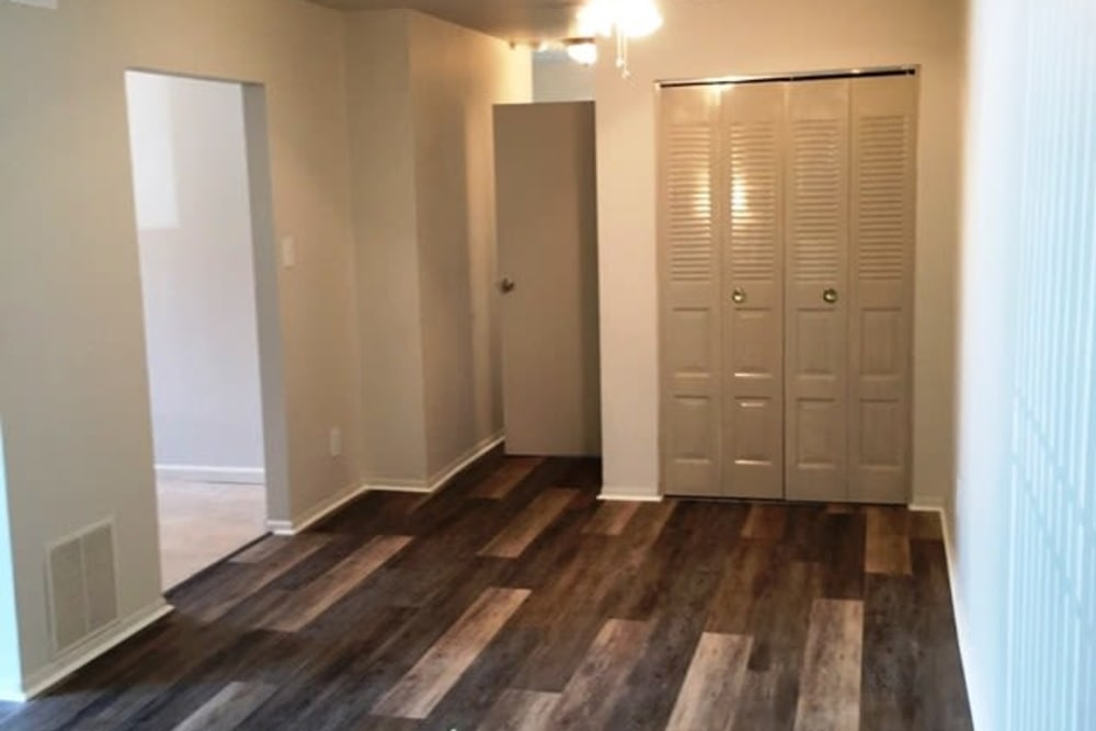 Beautiful wood-style flooring in bedroom at Orchard Hills Apartments in Whitehall, Pennsylvania