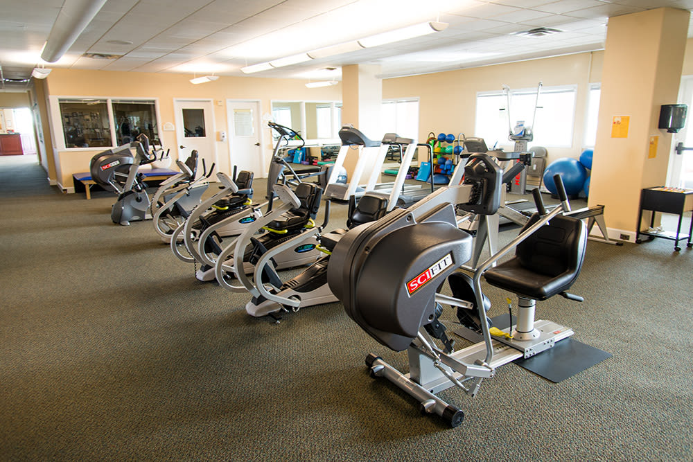 The community fitness room at Touchmark Health & Fitness Club in Meridian, Idaho