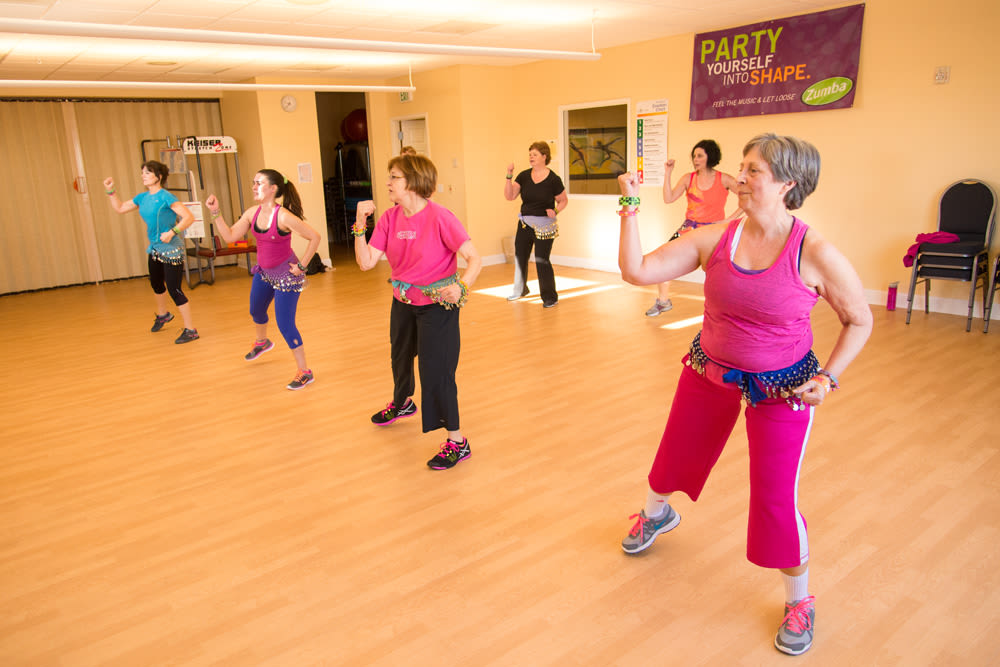 A group of residents exercising at Touchmark Health & Fitness Club in Meridian, Idaho