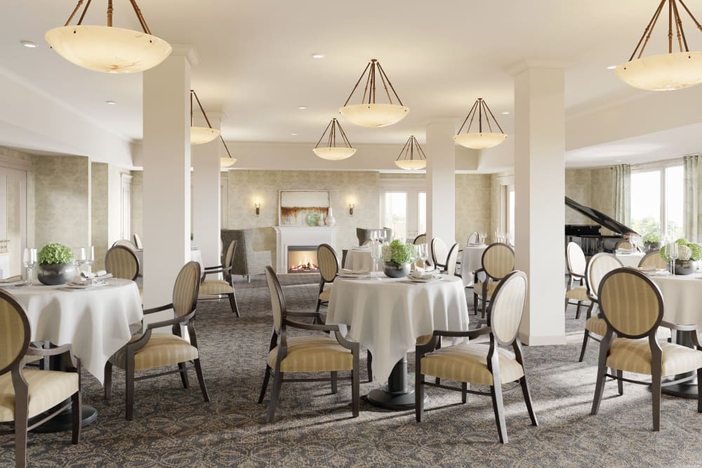 The community dining room at Weatherly Court in Medford, Oregon