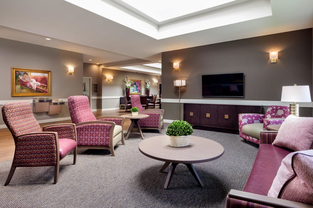 Seating in the entertainment room at Avenir Memory Care at Summerlin in Las Vegas, Nevada.