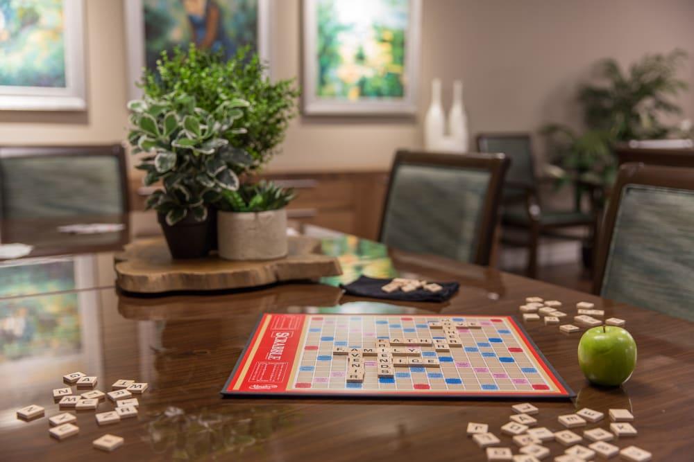 Scrabble on a table at Avenir Memory Care at Nanaimo in Nanaimo, British Columbia