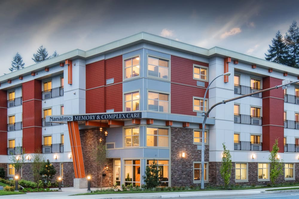 Building exterior of Avenir Memory Care at Nanaimo in Nanaimo, British Columbia