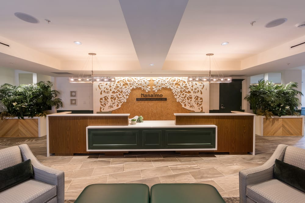 The lobby at Avenir Memory Care at Nanaimo in Nanaimo, British Columbia