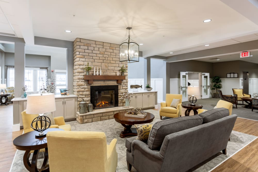Fireside seating at Heritage Crossing in Akron, Ohio