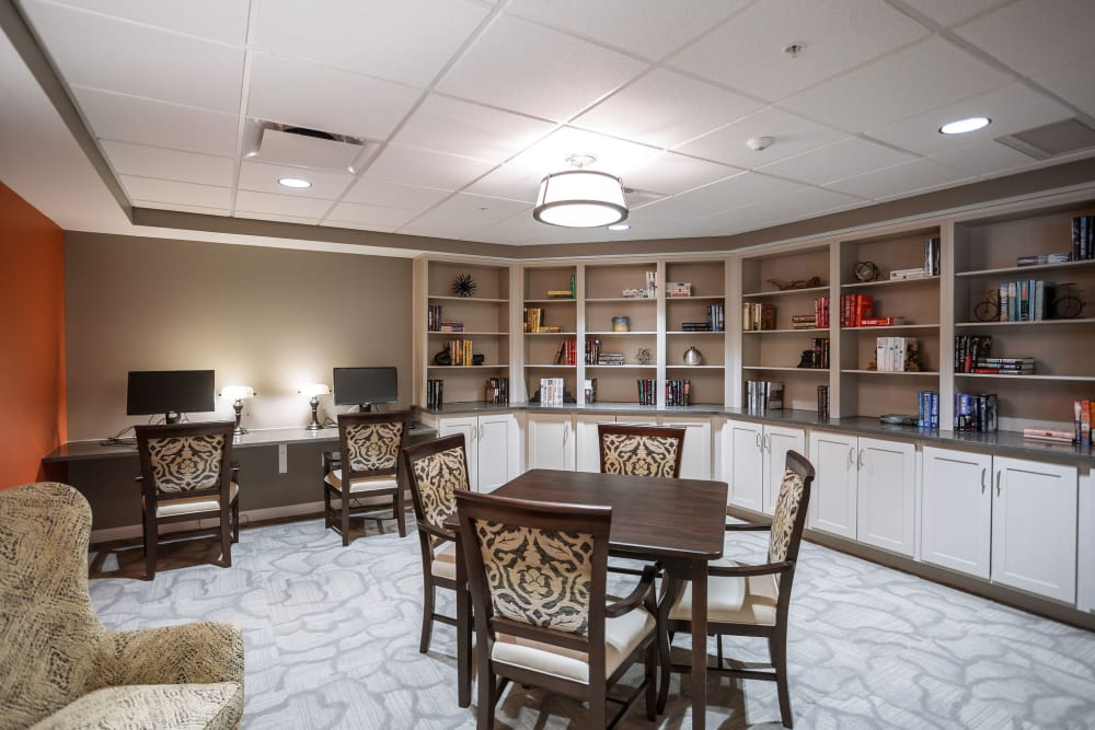 A reading room with computer access at Heritage Crossing in Akron, Ohio