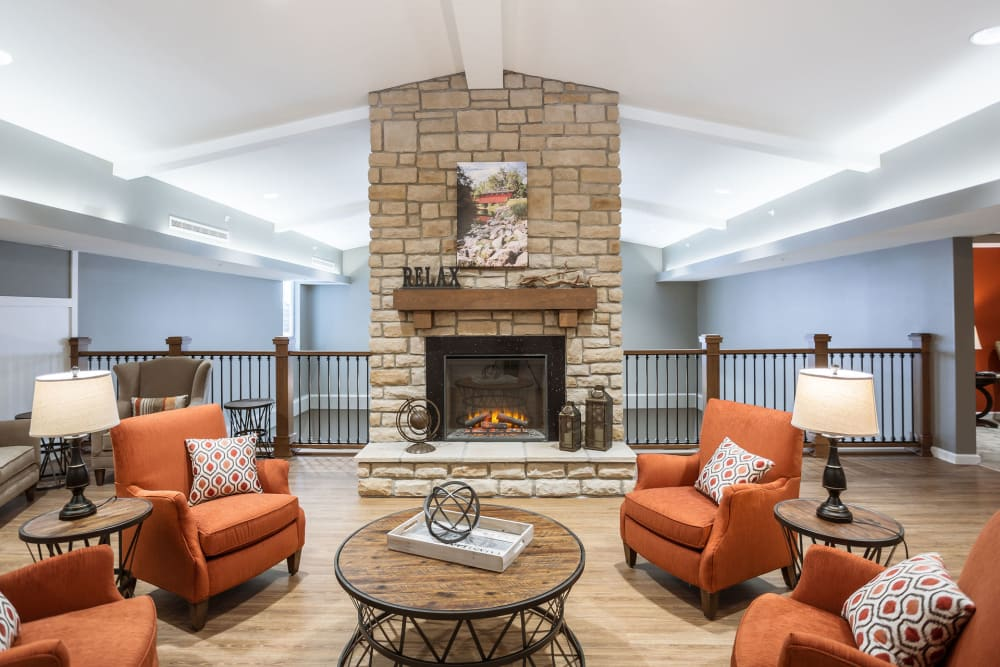 Another fireside lounge on the second floor at Heritage Crossing in Akron, Ohio