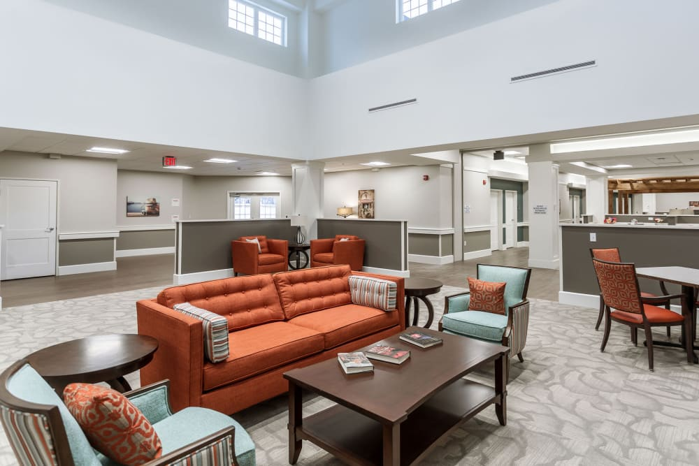 A reading area at Heritage Crossing in Akron, Ohio