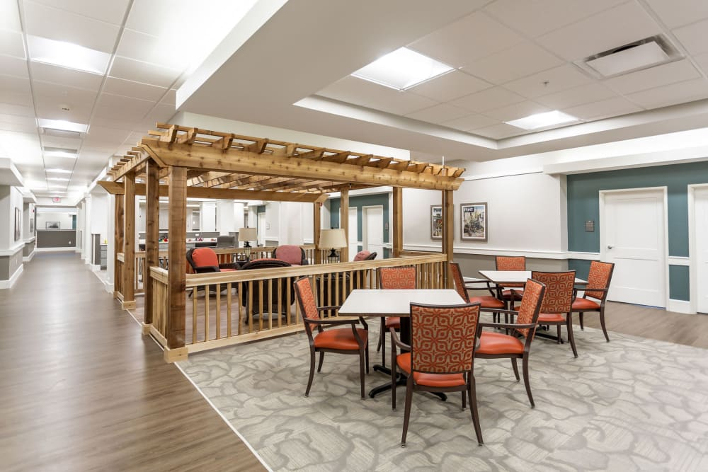 Community seating at Heritage Crossing in Akron, Ohio