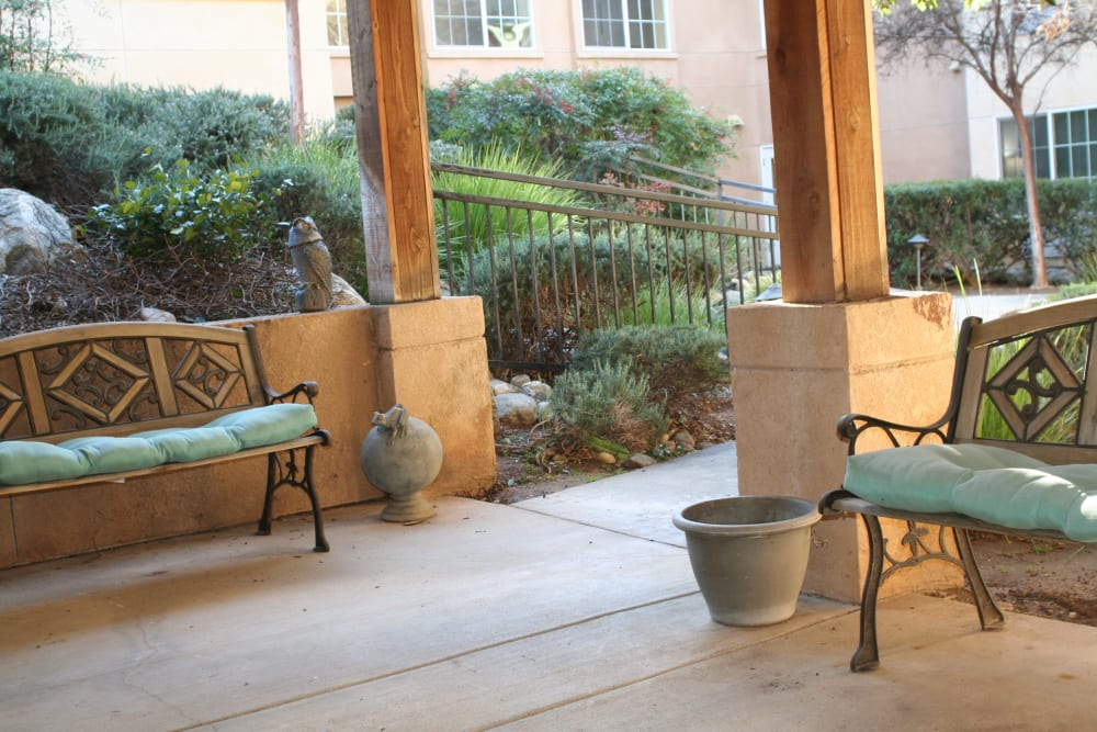 Patio seating at Wildwood Canyon Villa Assisted Living and Memory Care in Yucaipa, California