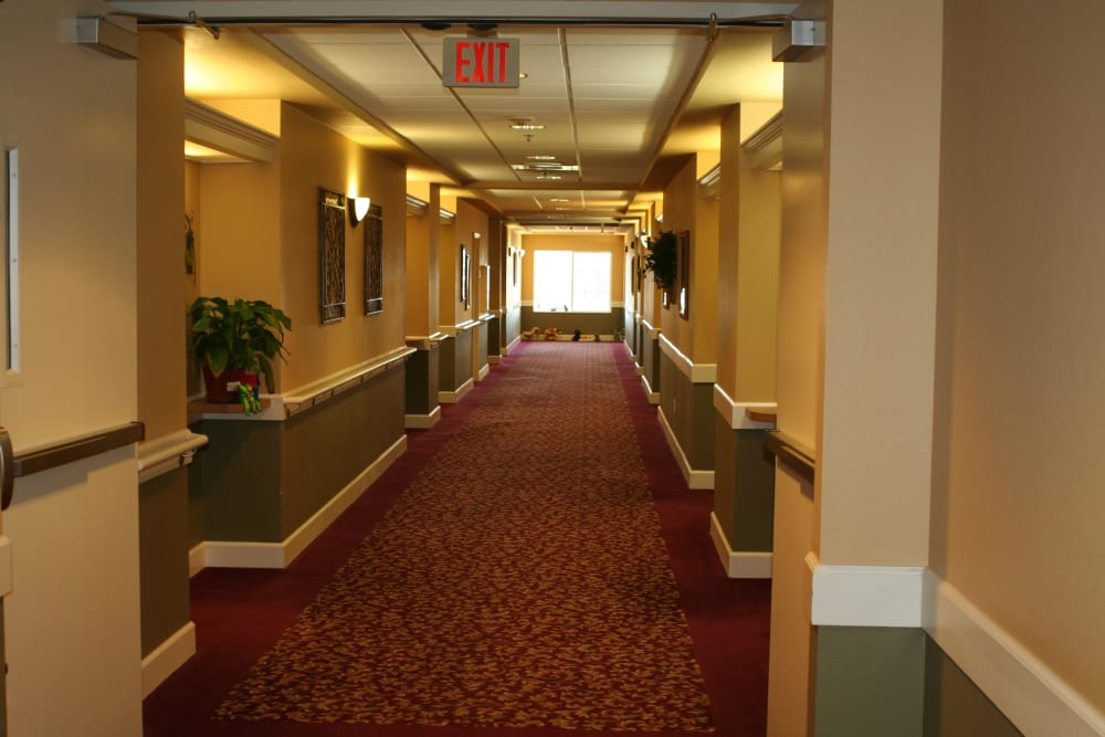 Friendly hallway at Wildwood Canyon Villa Assisted Living and Memory Care in Yucaipa, California