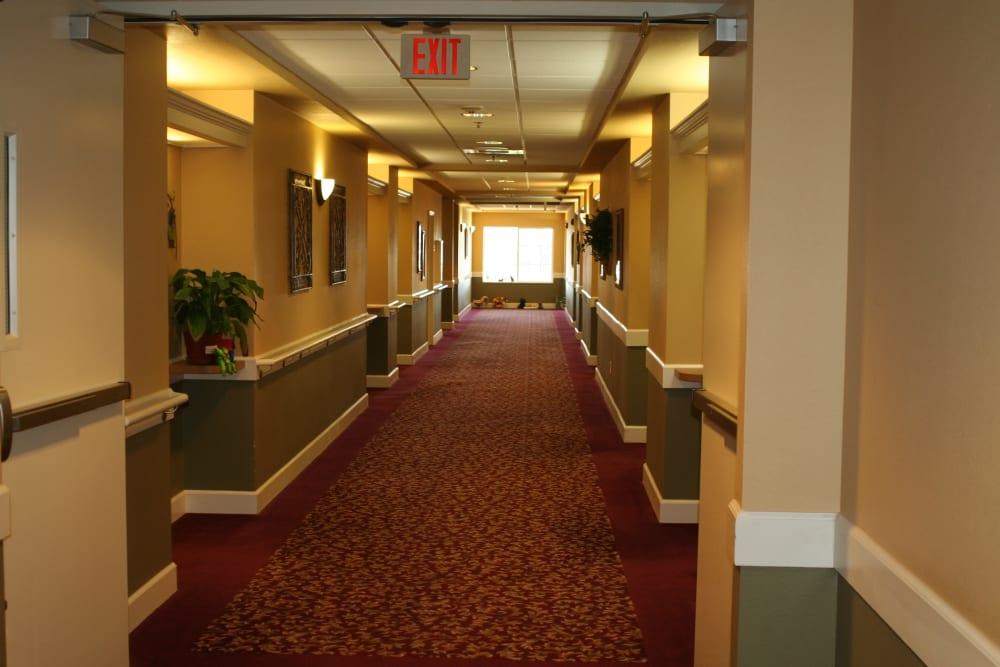 Friendly hallway at Wildwood Canyon Villa Assisted Living and Memory Care in Yucaipa, California