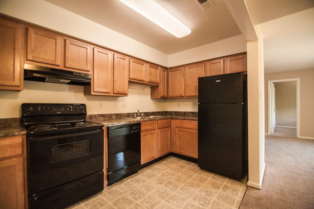 Full resident kitchens at Beech Meadow in Beech Grove, Indiana.