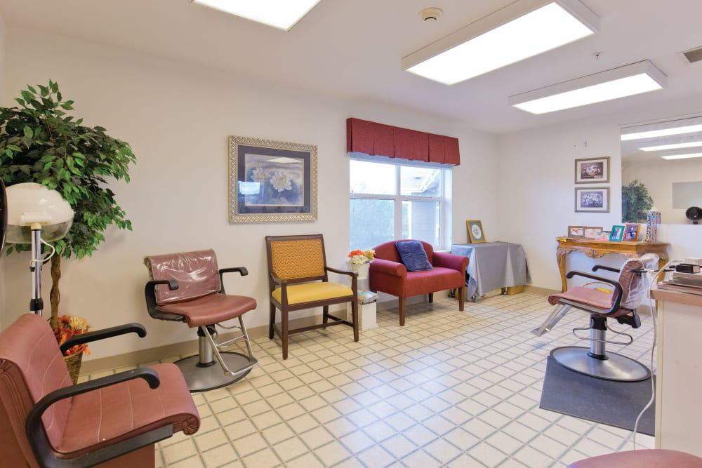 Hair salon at Heron Pointe Senior Living in Monmouth, Oregon
