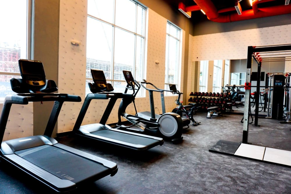 exercise room with treadmills at Alta Dairies in Atlanta, Georgia