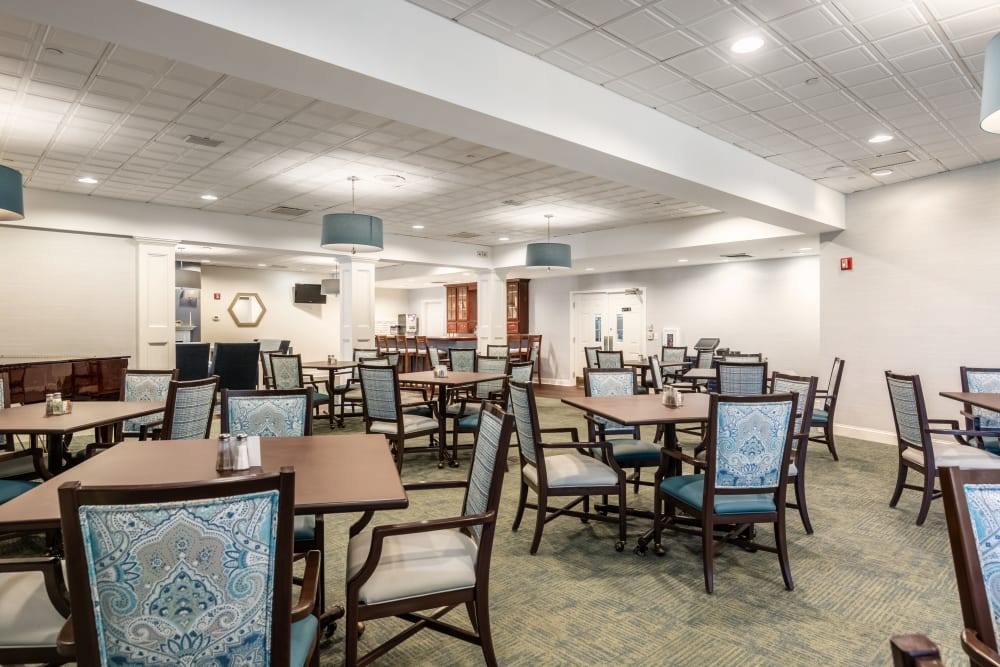 community seating and dining room