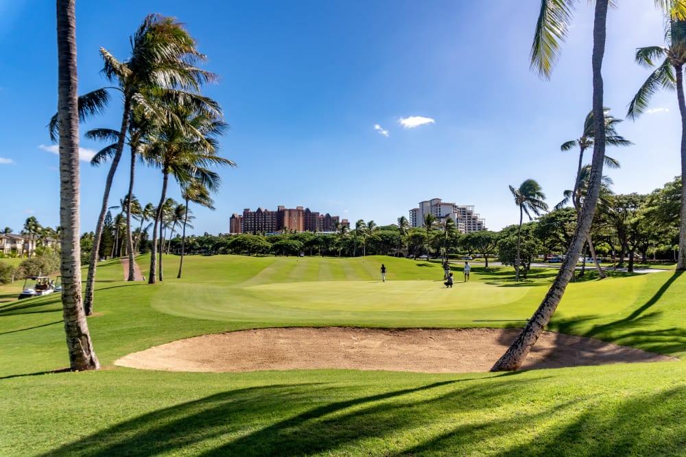 Golf course with sand trap near Kapolei Lofts in Kapolei, Hawaii