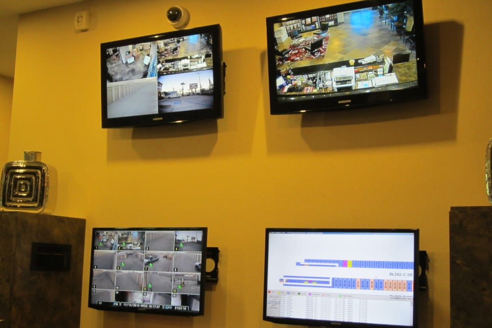 Security monitors at Absolute Self Storage in Thousand Palms, California