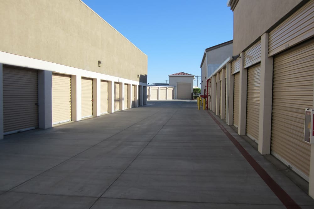 Wide aisles at Absolute Self Storage in Thousand Palms, California