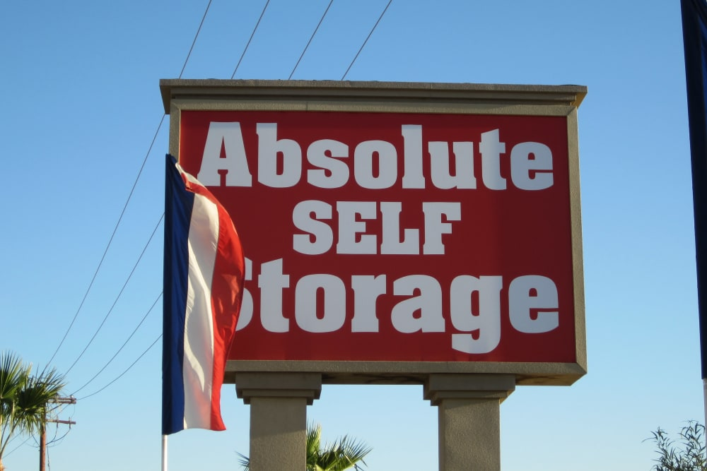 Welcome sign at Absolute Self Storage in Thousand Palms, California