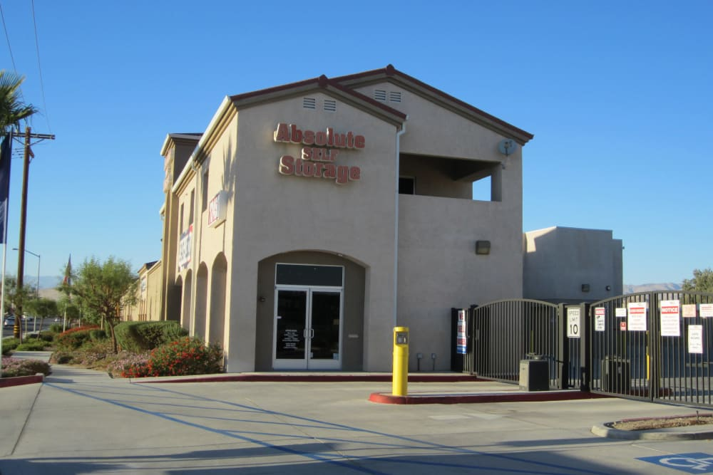 Front of Absolute Self Storage in Thousand Palms, California