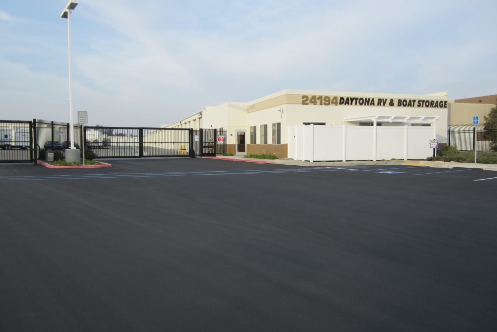 Gated entrance to Daytona RV & Boat Storage in Perris, California