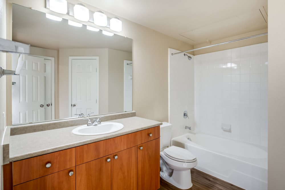 Model bathroom at The Landing at Mansfield in Mansfield, Texas