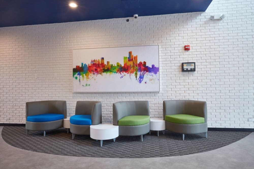 Colorful seating in foyer at The Tremont in Madison Heights, Michigan
