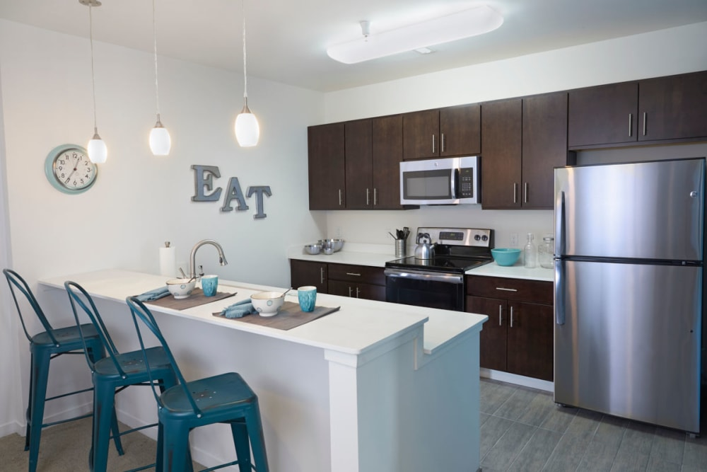 Kitchen layout at The Tremont in Madison Heights, Michigan