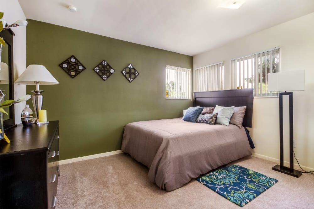 Bright bedroom at Cavalier Manor in Eastpointe, Michigan