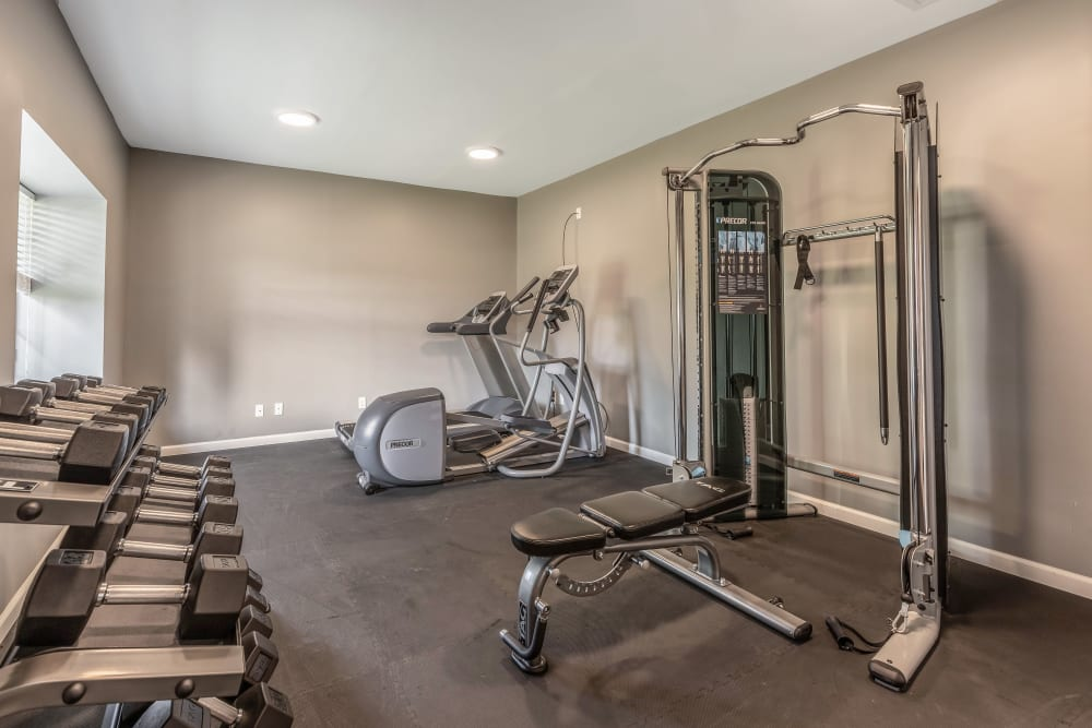 Fitness center for residents at Okemos Station Apartments in Okemos, Michigan