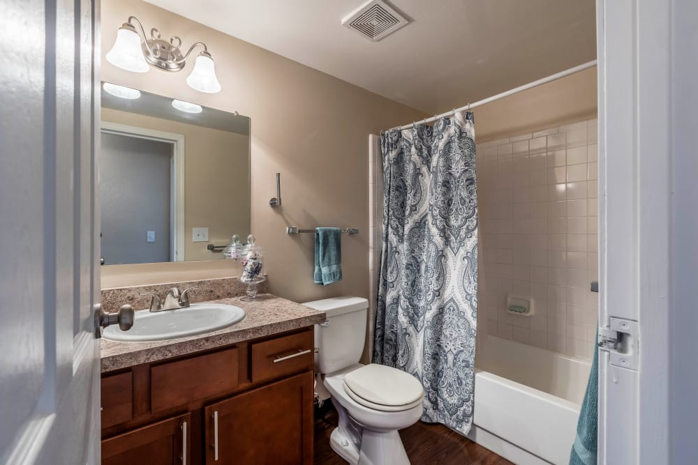 Bright, spacious bathroom at Okemos Station Apartments in Okemos, Michigan