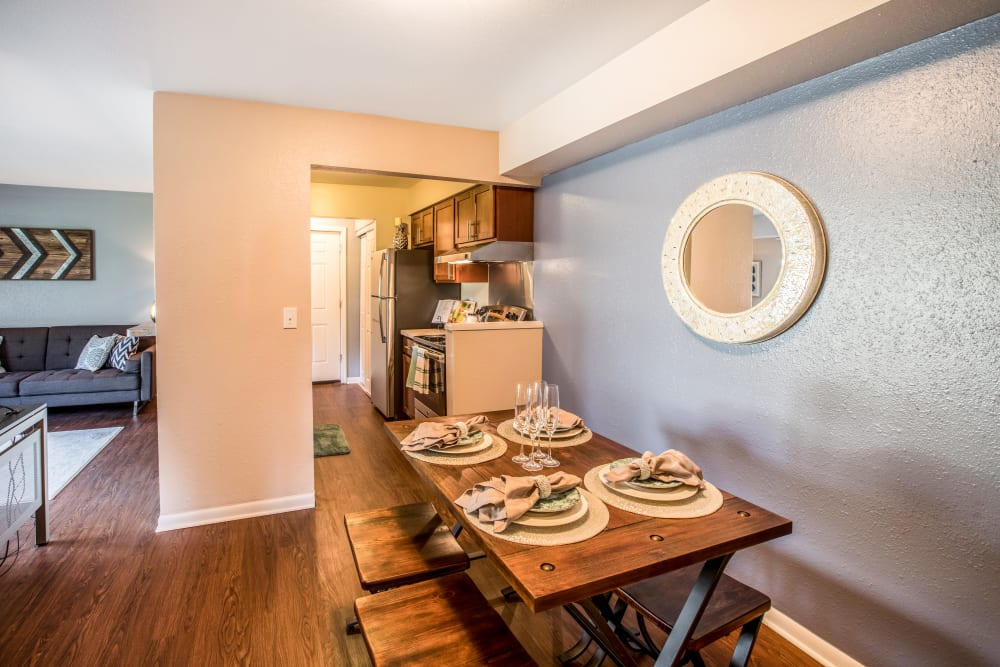 Model dining room area at Okemos Station Apartments in Okemos, Michigan